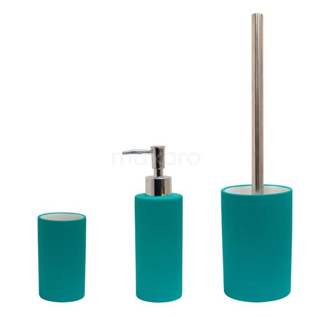 Badkamer Accessoires Set Solid. Turquoise 300-9902