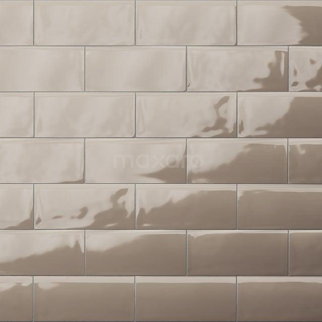 Wandtegel Malta 7,5x15cm Uni Grijs Glanzend Handvorm 501-020105