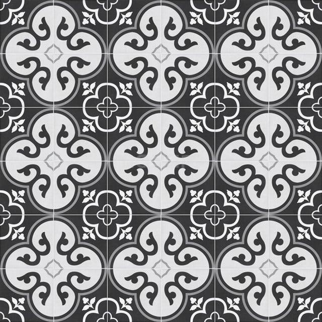 Vloertegel/Wandtegel Memory Flora Black 20x20cm Portugees Multicolor 502-010104