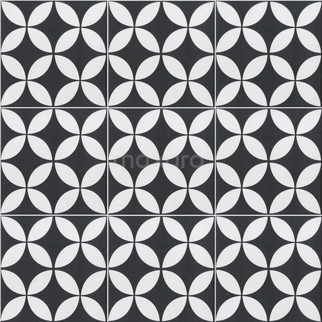 Vloertegel/Wandtegel Memory Retro Black 20x20cm Portugees Multicolor 502-010105