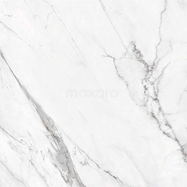 Vloertegel/Wandtegel Lucido Wit Glans 60x60cm Marmerlook Gerectificeerd 503-050101