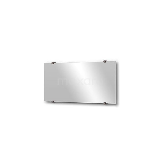 Badkamerspiegel Solo 70x30cm Spiegelhouders Rond Zwart Metaal M01-030720ZM
