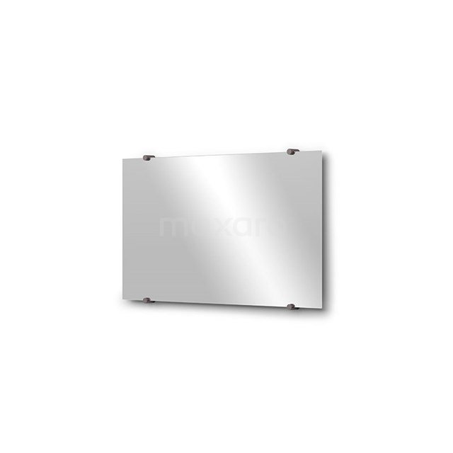Badkamerspiegel Solo 70x40cm Spiegelhouders Rond Zwart Metaal M01-040720ZM
