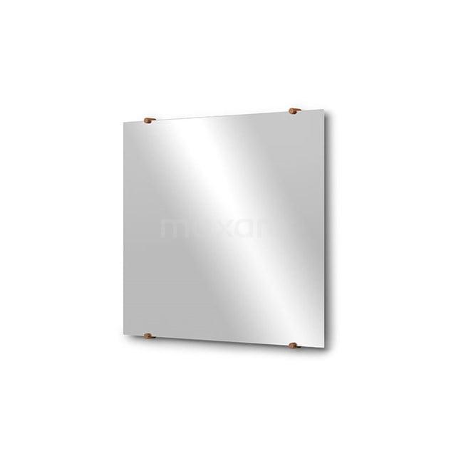Badkamerspiegel Solo 70x60cm Spiegelhouders Rond Koper M01-060720KP