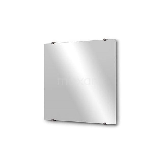 Badkamerspiegel Solo 70x60cm Spiegelhouders Rond Zwart Metaal M01-060720ZM