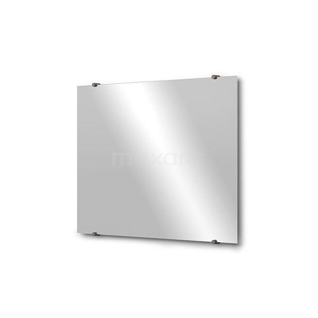 Badkamerspiegel Solo 80x60cm Spiegelhouders Rond Zwart Metaal M01-080620ZM