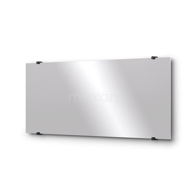 Badkamerspiegel Solo 100x40cm Spiegelhouders Rond Zwart M01-100420MB