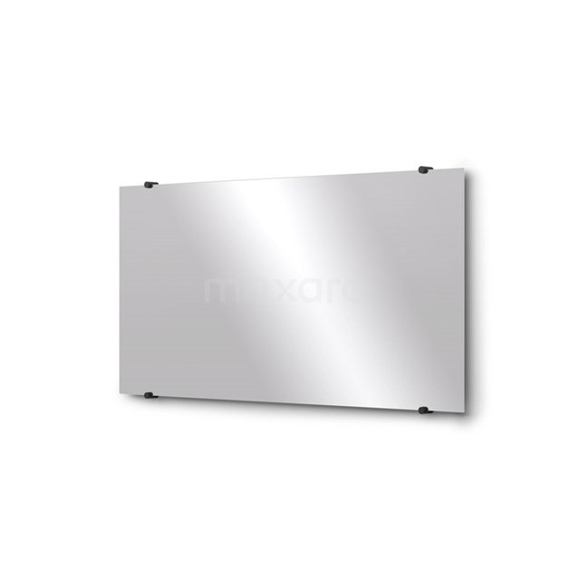 Badkamerspiegel Solo 100x50cm Spiegelhouders Rond Zwart M01-100520MB
