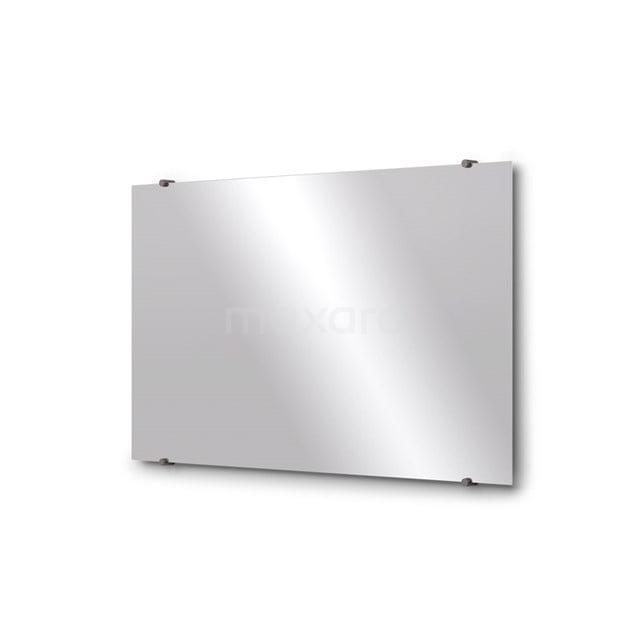 Badkamerspiegel Solo 100x60cm Spiegelhouders Rond Zwart Metaal M01-100620ZM