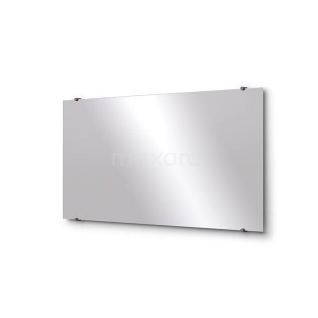 Badkamerspiegel Solo 120x60cm Spiegelhouders Rond Zwart Metaal M01-120620ZM