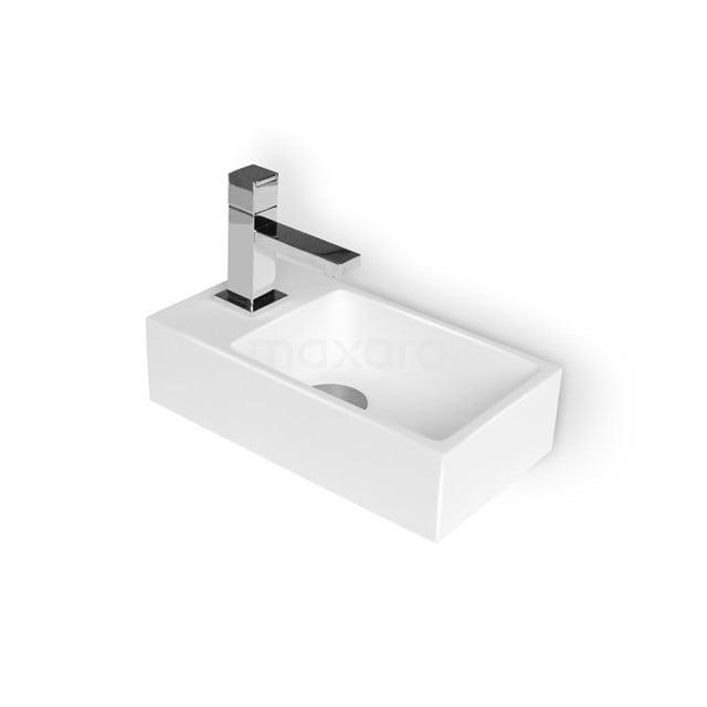 Fonteintje WC Mintra Mineraalmarmer Glanzend Wit Kraangat Links M110-1010