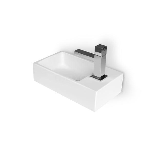 Fonteintje WC Mintra Mineraalmarmer Glanzend Wit Kraangat Rechts M110-1015