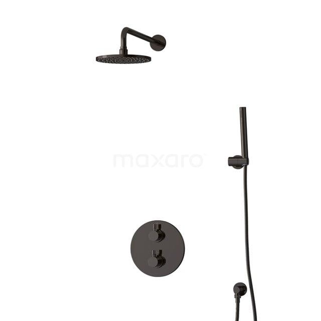 Inbouw Regendoucheset Radius Black Chrome, Thermostaatkraan, 20cm Hoofddouche, Zwart Chroom BIB55-00003