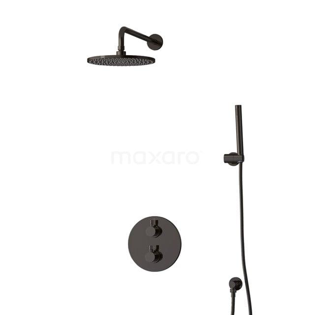 Inbouw Regendoucheset Radius Black Chrome, Thermostaatkraan, 25cm Hoofddouche, Zwart Chroom BIB55-00004