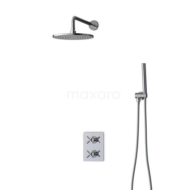 Inbouw Regendoucheset Iconic Chrome, Thermostaatkraan, 25cm Hoofddouche, Chroom BIC90-00002