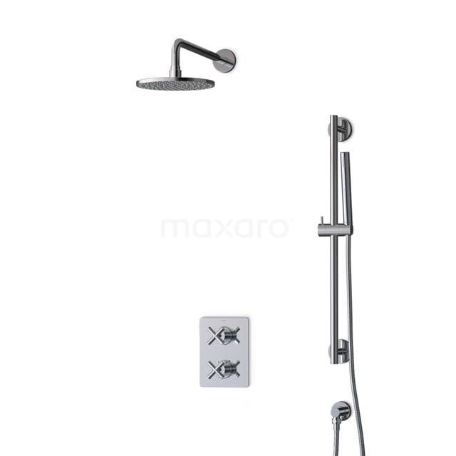 Inbouw Regendoucheset Iconic Chrome, Thermostaatkraan, 20cm Hoofddouche, Chroom BIC90-00008