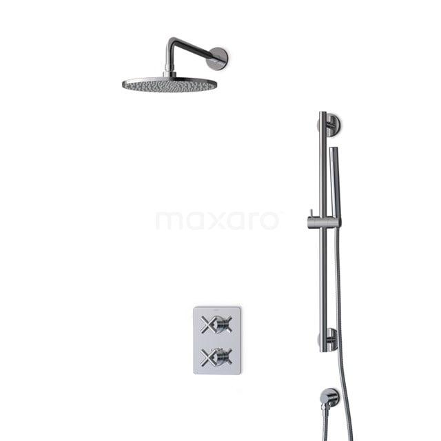 Inbouw Regendoucheset Iconic Chrome, Thermostaatkraan, 25cm Hoofddouche, Chroom BIC90-00009