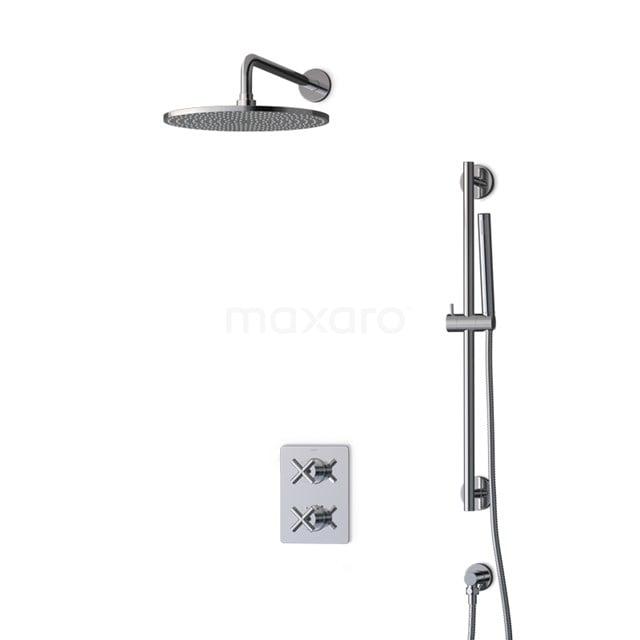 Inbouw Regendoucheset Iconic Chrome, Thermostaatkraan, 30cm Hoofddouche, Chroom BIC90-00010
