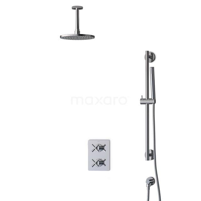 Inbouw Regendoucheset Iconic Chrome, Thermostaatkraan, 20cm Hoofddouche, Chroom BIC90-00011