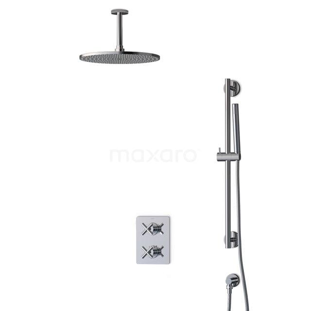 Inbouw Regendoucheset Iconic Chrome, Thermostaatkraan, 30cm Hoofddouche, Chroom BIC90-00013