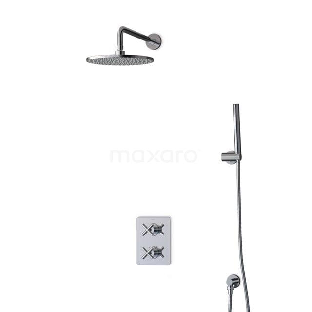Inbouw Regendoucheset Iconic Chrome, Thermostaatkraan, 25cm Hoofddouche, Chroom BIC90-00016