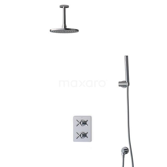Inbouw Regendoucheset Iconic Chrome, Thermostaatkraan, 20cm Hoofddouche, Chroom BIC90-00018