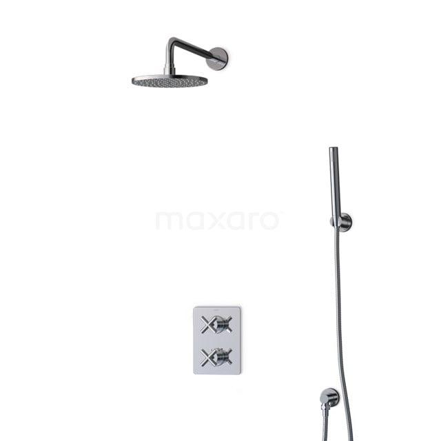 Inbouw Regendoucheset Iconic Chrome, Thermostaatkraan, 20cm Hoofddouche, Chroom BIC90-00022