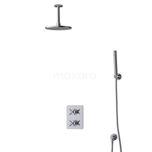 Inbouw Regendoucheset Iconic Chrome, Thermostaatkraan, 20cm Hoofddouche, Chroom BIC90-00025