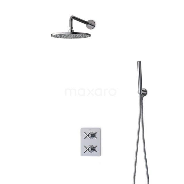 Inbouw Regendoucheset Iconic Chrome, Thermostaatkraan, 25cm Hoofddouche, Chroom BIC90-00030