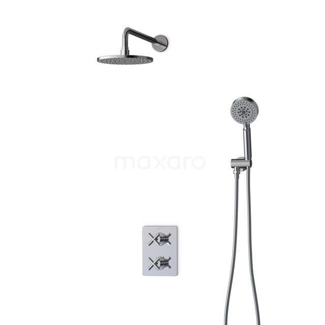 Inbouw Regendoucheset Iconic Chrome, Thermostaatkraan, 20cm Hoofddouche, Chroom BIC90-00071