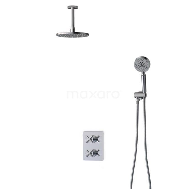 Inbouw Regendoucheset Iconic Chrome, Thermostaatkraan, 20cm Hoofddouche, Chroom BIC90-00074