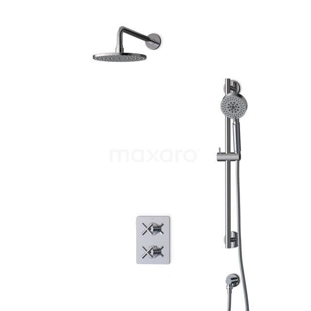 Inbouw Regendoucheset Iconic Chrome, Thermostaatkraan, 20cm Hoofddouche, Chroom BIC90-00078