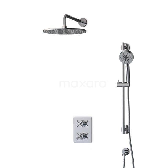Inbouw Regendoucheset Iconic Chrome, Thermostaatkraan, 30cm Hoofddouche, Chroom BIC90-00080