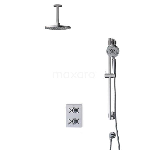 Inbouw Regendoucheset Iconic Chrome, Thermostaatkraan, 20cm Hoofddouche, Chroom BIC90-00081