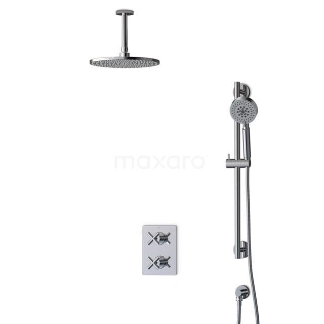 Inbouw Regendoucheset Iconic Chrome, Thermostaatkraan, 25cm Hoofddouche, Chroom BIC90-00082