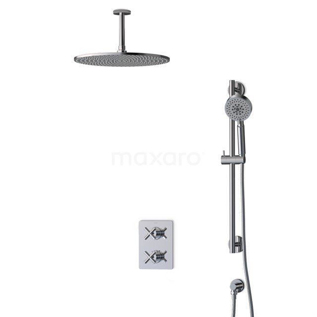 Inbouw Regendoucheset Iconic Chrome, Thermostaatkraan, 35cm Hoofddouche, Chroom BIC90-00084