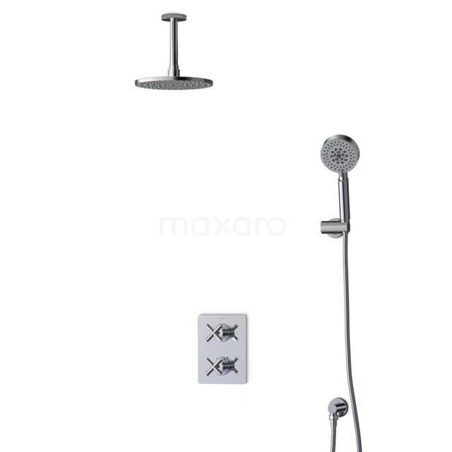 Inbouw Regendoucheset Iconic Chrome, Thermostaatkraan, 20cm Hoofddouche, Chroom BIC90-00088