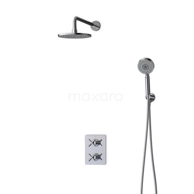 Inbouw Regendoucheset Iconic Chrome, Thermostaatkraan, 20cm Hoofddouche, Chroom BIC90-00099