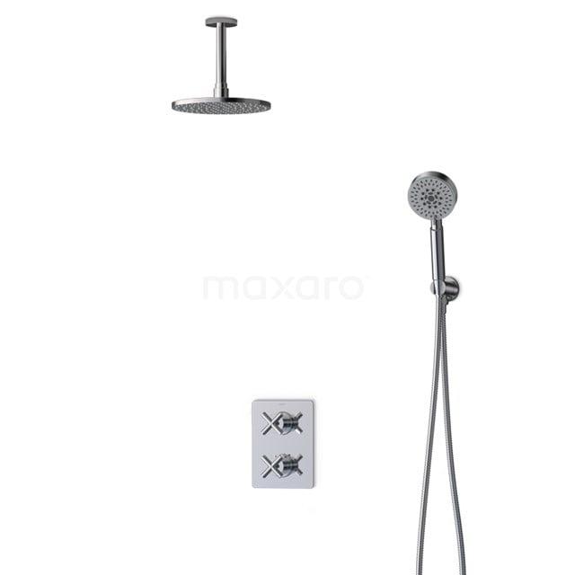 Inbouw Regendoucheset Iconic Chrome, Thermostaatkraan, 20cm Hoofddouche, Chroom BIC90-00102