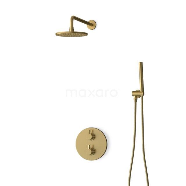 Inbouw Regendoucheset Radius Gold, Thermostaatkraan, 20cm Hoofddouche, Goud BIG55-00001