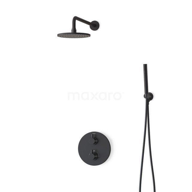 Inbouw Regendoucheset Radius Black, Thermostaatkraan, 20cm Hoofddouche, Zwart BIZ55-00001