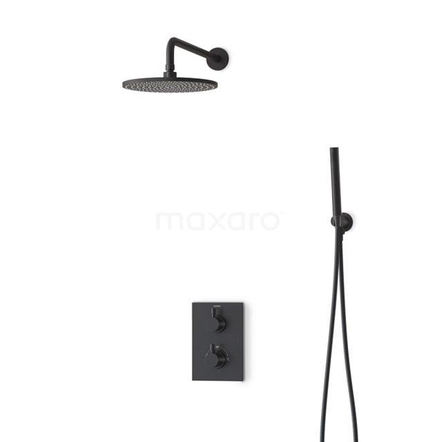 Regendouche Set Radius Black 25cm Inbouw Thermostaat Zwart BIZ55-00005