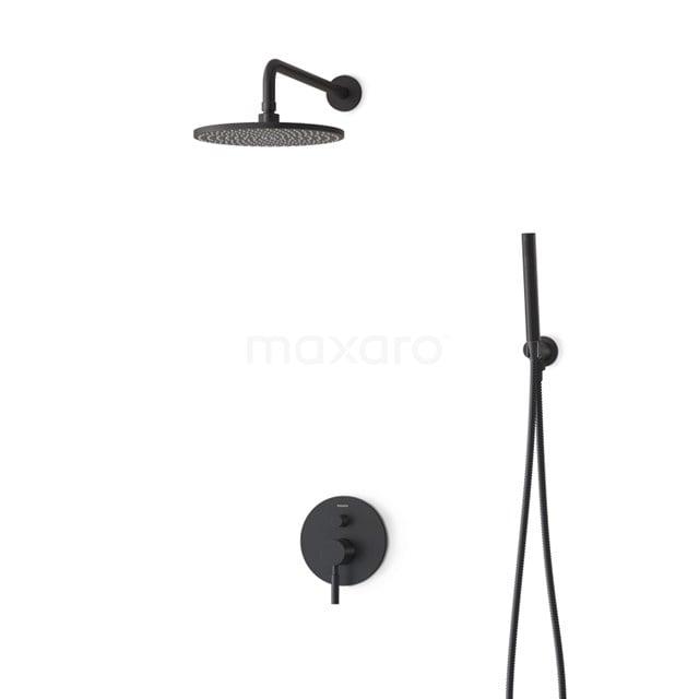 Inbouw Regendoucheset Radius Black, Eéngreeps Mengkraan, 25cm Hoofddouche, Zwart BIZ55-00006