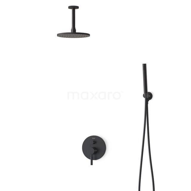 Inbouw Regendoucheset Radius Black, Eéngreeps Mengkraan, 20cm Hoofddouche, Zwart BIZ55-00009