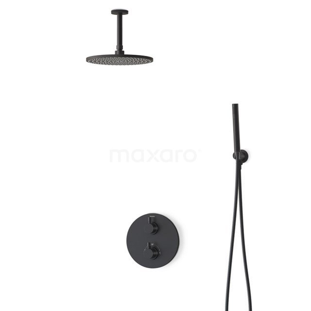 Regendouche Set Radius Black 25cm Inbouw Thermostaat Zwart BIZ55-00010
