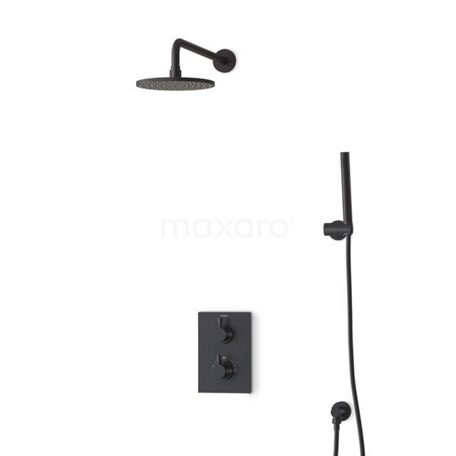 Inbouw Regendoucheset Radius Black, Thermostaatkraan, 20cm Hoofddouche, Zwart BIZ55-00026