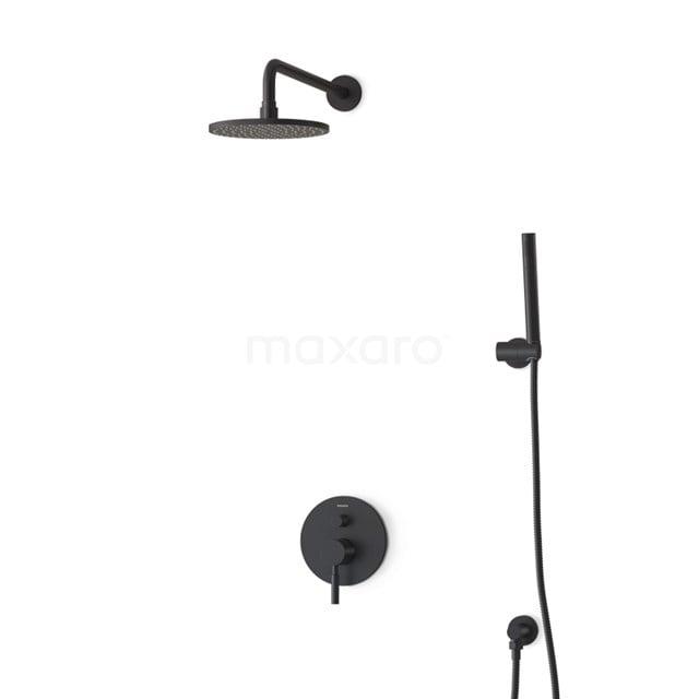 Inbouw Regendoucheset Radius Black, Eéngreeps Mengkraan, 20cm Hoofddouche, Zwart BIZ55-00027