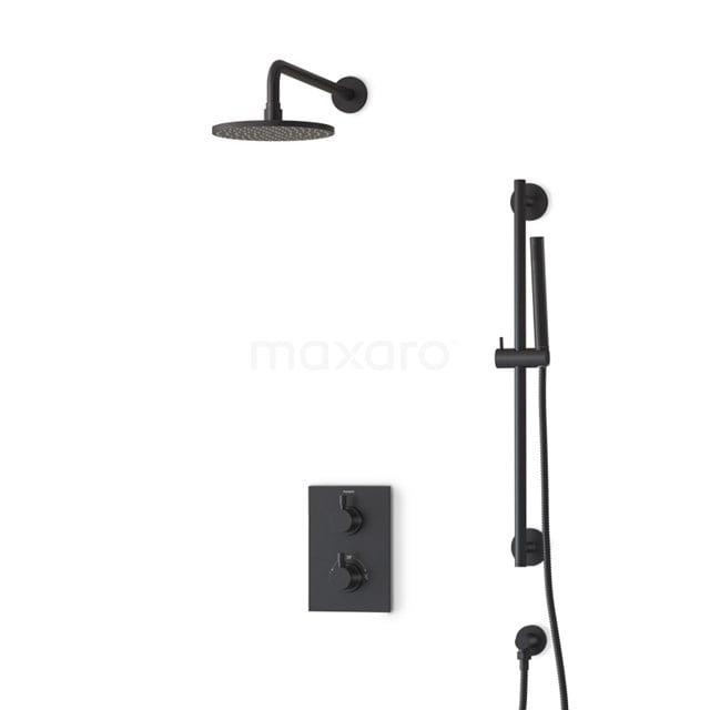 Inbouw Regendoucheset Radius Black, Thermostaatkraan, 20cm Hoofddouche, Zwart BIZ55-00038