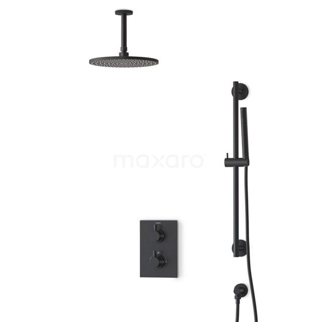 Inbouw Regendoucheset Radius Black, Thermostaatkraan, 25cm Hoofddouche, Zwart BIZ55-00047