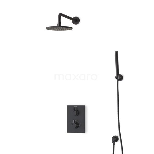Inbouw Regendoucheset Radius Black, Thermostaatkraan, 20cm Hoofddouche, Zwart BIZ55-00050